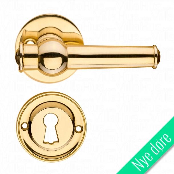 Dørgreb indendørs messing - Roset og nøgleskilt - ALMANN 98 mm - Nye døre