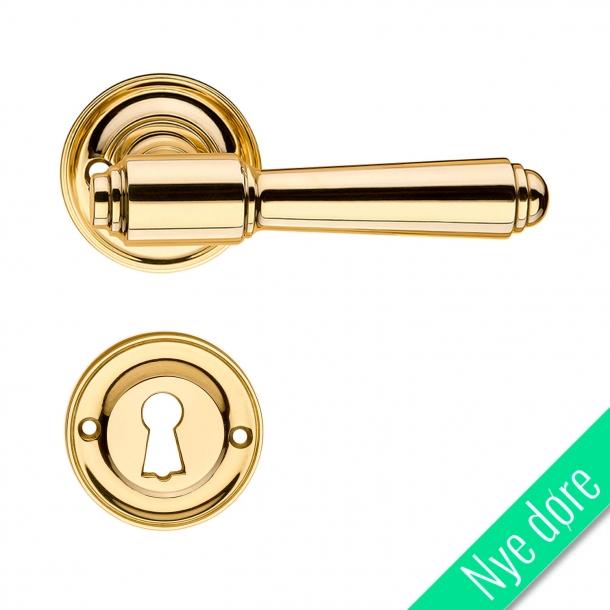 Dørgreb indendørs messing roset/nøgleskilt - BRIGGS 112 mm - Nye døre