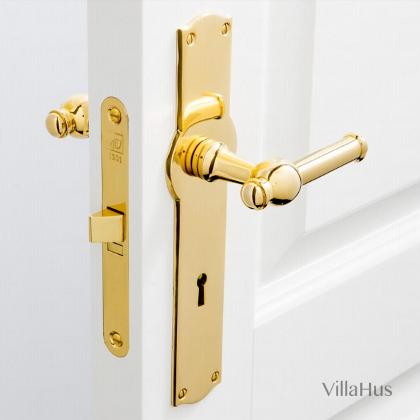 Door handle interior - Wide, Back plate - Keyhole - Brass - CREUTZ 94 mm