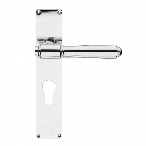 Door handle exterior, Back plate gloss PZ lock - BRIGGS 132 mm