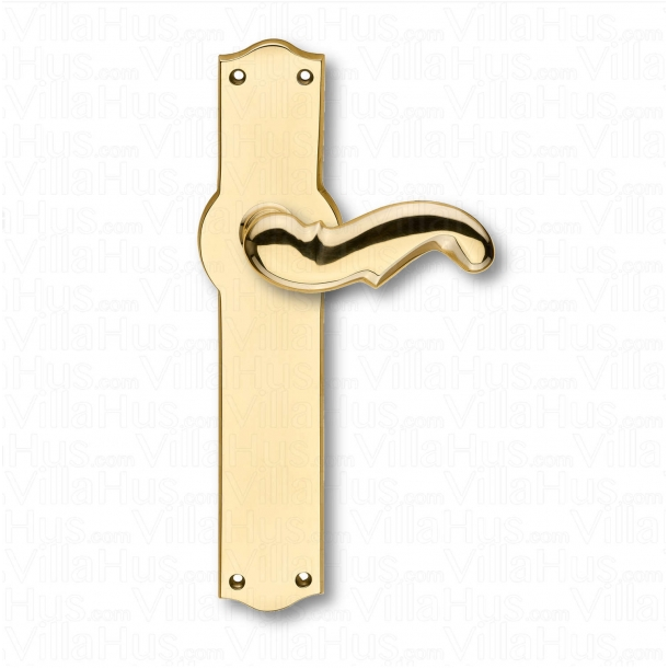 Door handle interior - Narrow, Back plate - Brass - Weingarden 84 mm