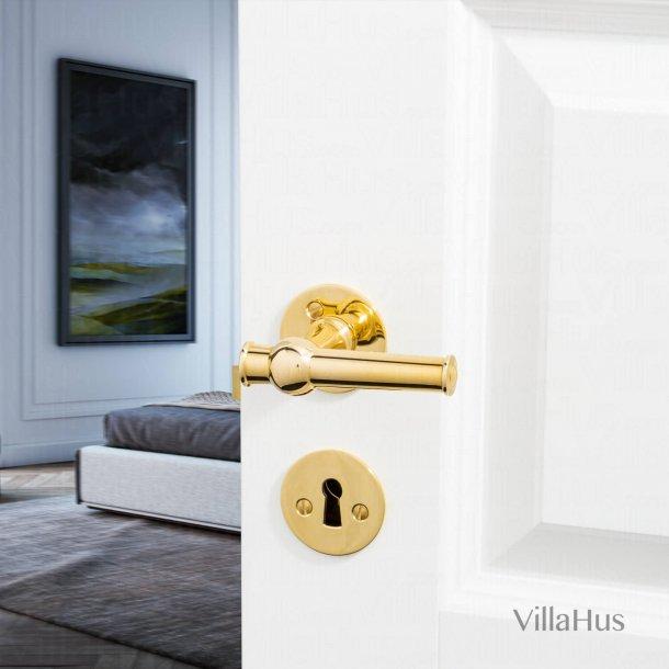 Door handle - Interior - Brass - Smooth rosette and escutcheon - ALMANN 98 mm