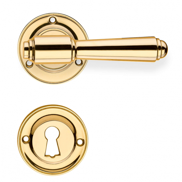 Door handle interior, Brass rosette / escutcheon - BRIGGS 112 mm - Wood screws