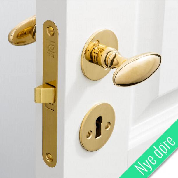 Dørgreb messing - BLENHEIM - Glat roset og nøgleskilt - Nye døre