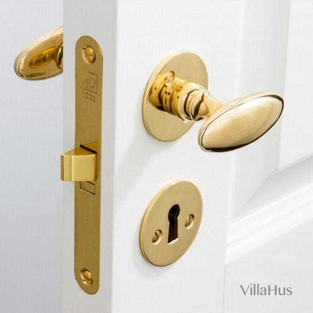 Dörrhandtag mässing - BLENHEIM - Smidig rosett och nyckelskylt (SJ08-035)
