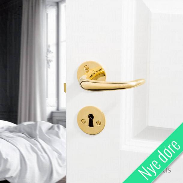 Dørhåndtag - Coupé dørgreb - Kay Otto Fisker - Messing roset og nøgleskilt - Nye døre