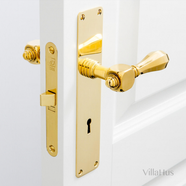 Door handle - Backplate with keyhole - Brass - Model MEDICI
