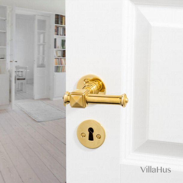 Door handle - Interior - Brass - Smooth rosettes and Escutcheons - ULLMAN 112 mm