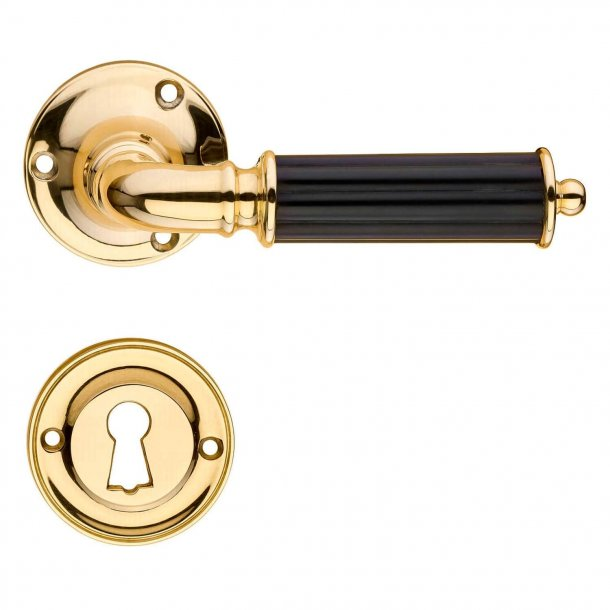 Door handle interior - Brass and Black Bakelite - Model ASTOR