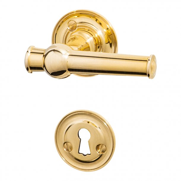 Door handle interior, Brass - rosette and escutcheon - Almann 98 mm