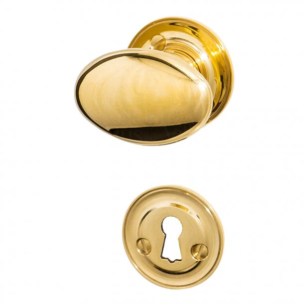 Door knob brass - Classic rosette and escutcheon - Model BLENHEIM III