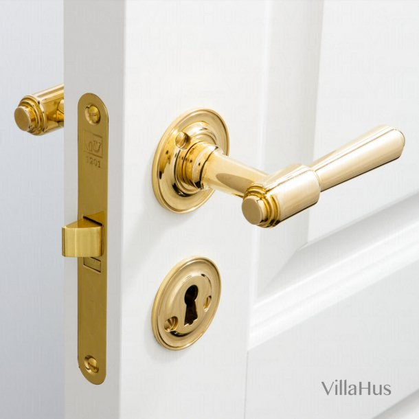 Door handle - Interior - Brass - Rosset / Key Tag - BRIGGS 112 mm  - Bolts and sleeve