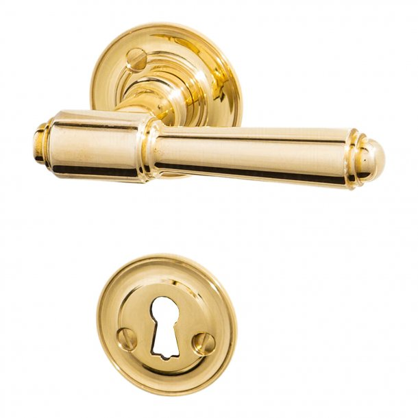 Door handle interior, Brass - Rosset / Key Tag - BRIGGS 112 mm - Old doors