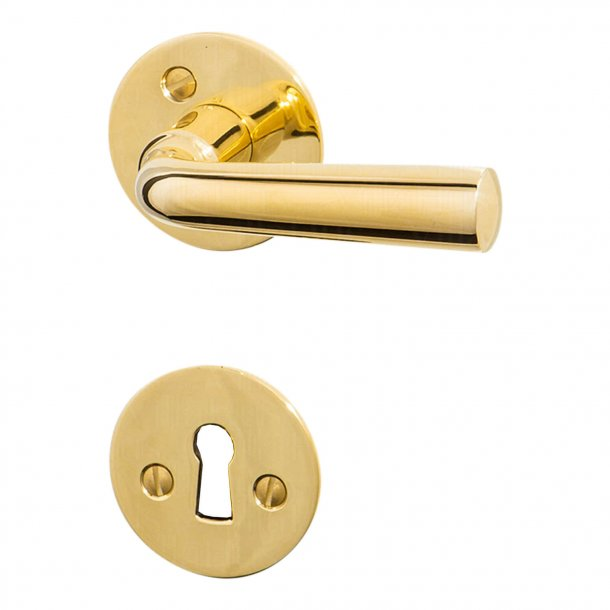 Door handle GENON brass - rosette and escutcheon