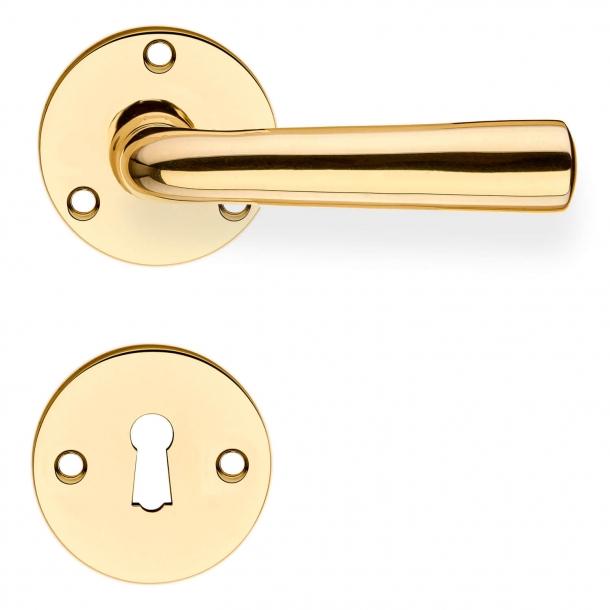 Door handle GENON brass - rosette and escutcheon