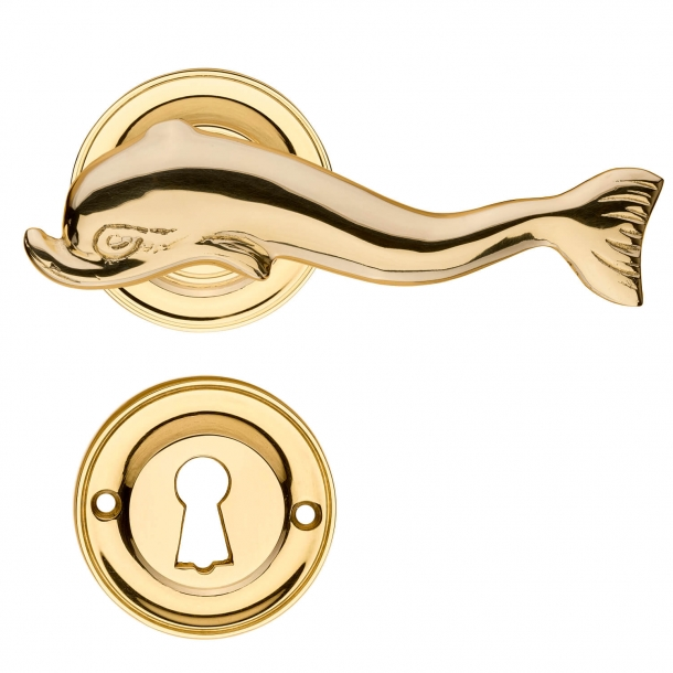 Door handle interior - DOLPHIN 112 mm - Brass rosette and escutcheon