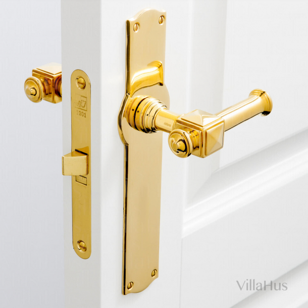 Indoor door handle on long plate - ULLMAN - 112 mm - Brass