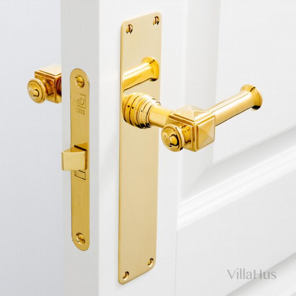 Indoor door handle on long plate - ULLMAN 112 mm - Brass
