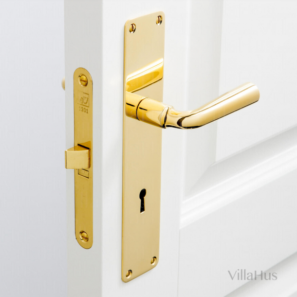 Door handle on backplate with keyhole - Brass without lacquer - Model GENON