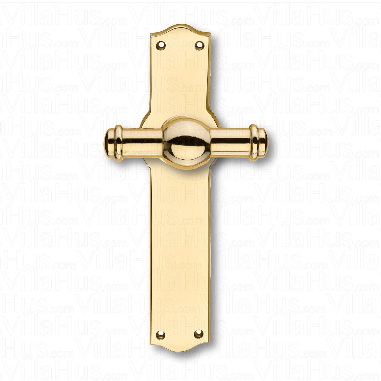 Door handle interior back plate narrow brass creutz 74 mm brass door handles villahus for Interior door handles with backplates