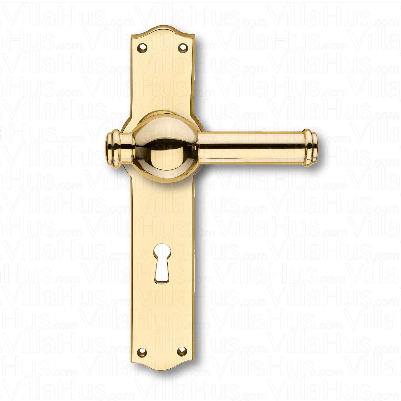 Door handle interior back plate narrow keyhole brass for Door handle company