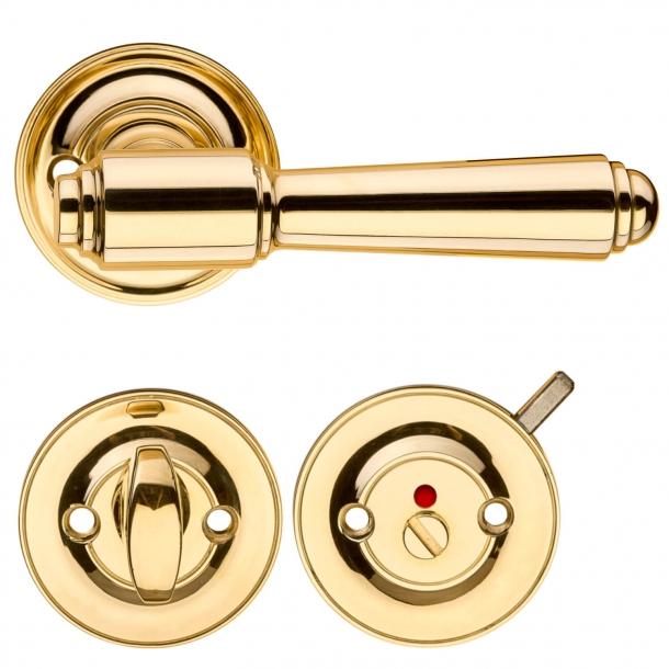 Dörrhandtag inomhus w / toalettbesättning - Mässing - BRIGGS 112 mm
