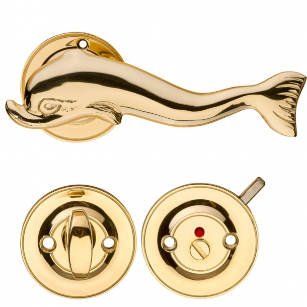 Door handle - Interior with Privacy lock - Brass - DOLPHIN 112 mm