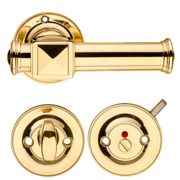 Dörrhandtag inomhus w / toalettbesättning - Mässing - ULLMAN 112 mm