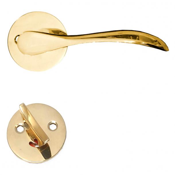 Dørhåndtag med WC lås - Messing uden lak - Model BELLEVUE