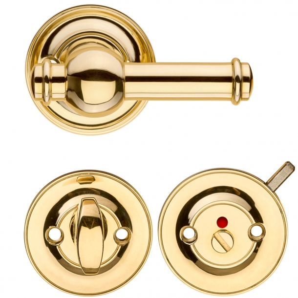 Door handle - Interior with Privacy lock - Brass - CREUTZ 94 mm