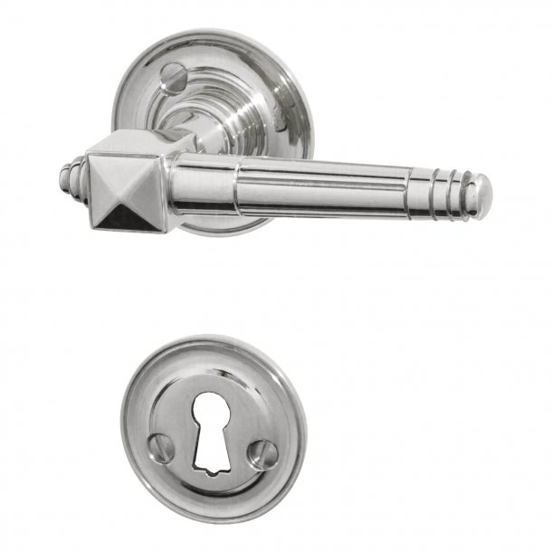 Door handle interior - EMPIRE UFFICI - Chrome rosette and escutcheon