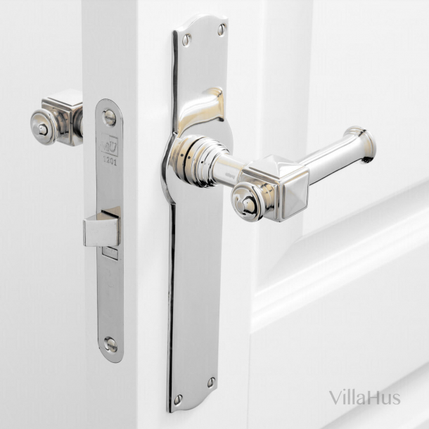 Indoor door handle on long plate - ULLMAN 112 mm - Nickel