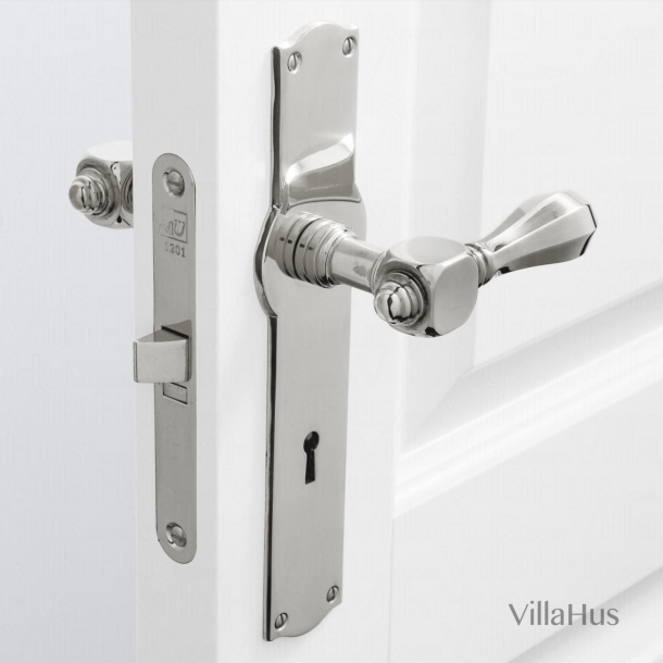 Door handle interior, Back plate with keyhole - Blank nickel - Medici