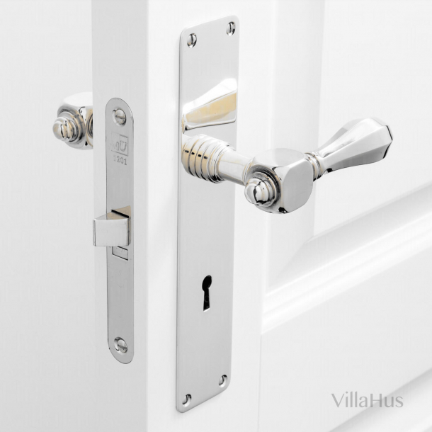 Door handle - Interior - Backplate with keyhole - Polished nickel - MEDICI