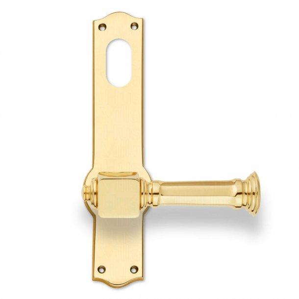 Dørgreb udendørs - Messing - Langskilt med Dobbelt Cylinderhul - Model NEUMAN 135 mm