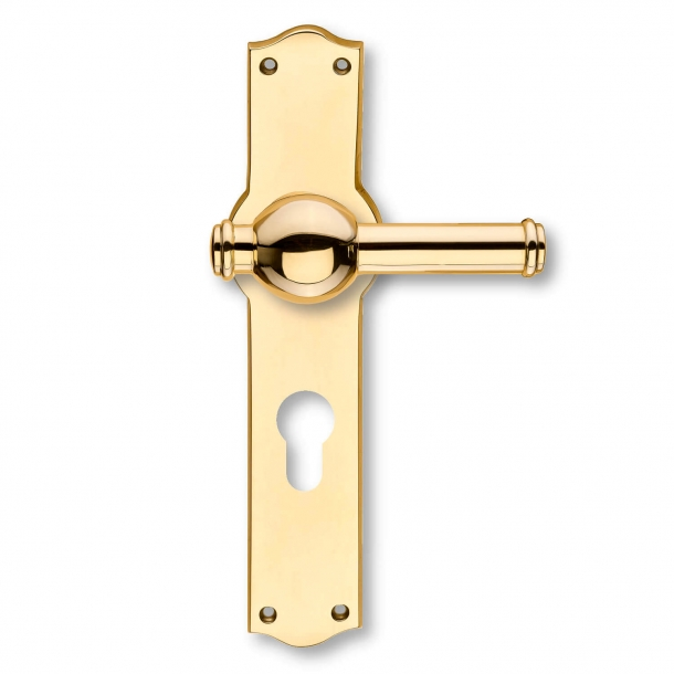 Door handle - Exterior - Brass - Back plates with profile cylinder lock - Model CREUTZ