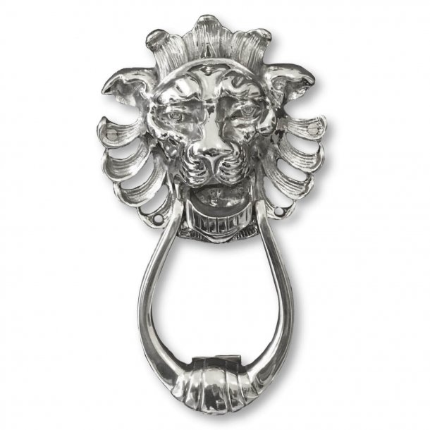 Door knocker lion head, Nickel, 194 x 114 mm