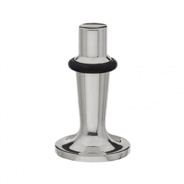 Door stopper - Blank Nickel - Black rubber cravings - Floor mounting
