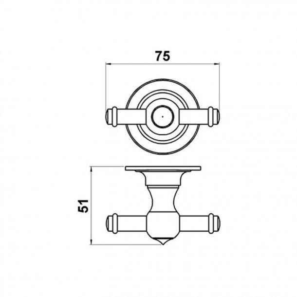 Haken, doppelt - Messing - Modell TB27