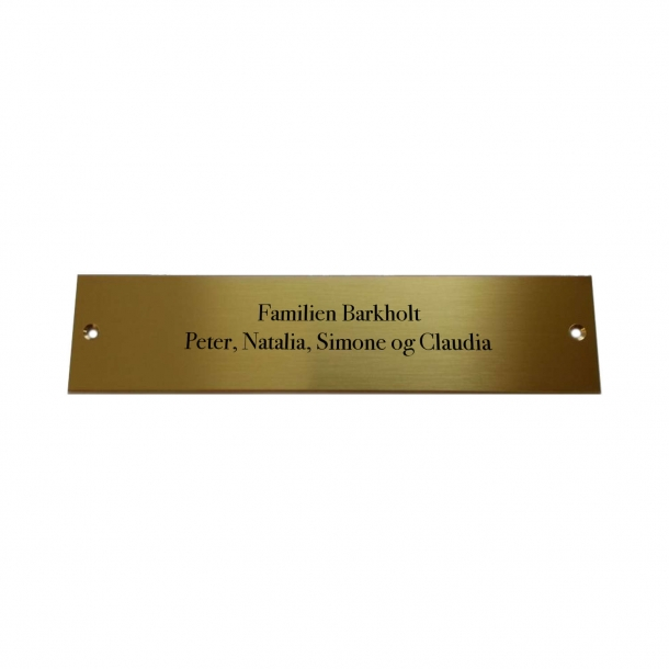 Brass plate with engraving 24 x 6 cm