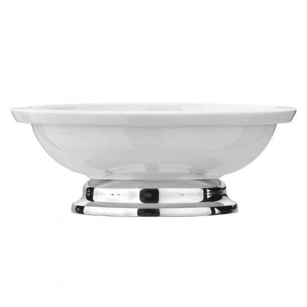 Soap dish - White bone china and Chrome - Model TB37