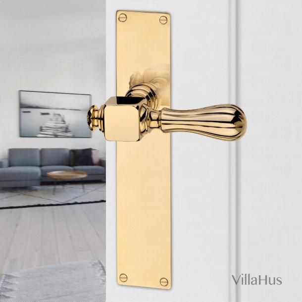 Door handle interior, Backplate - Unlacquered brass - Model HOLKHAM
