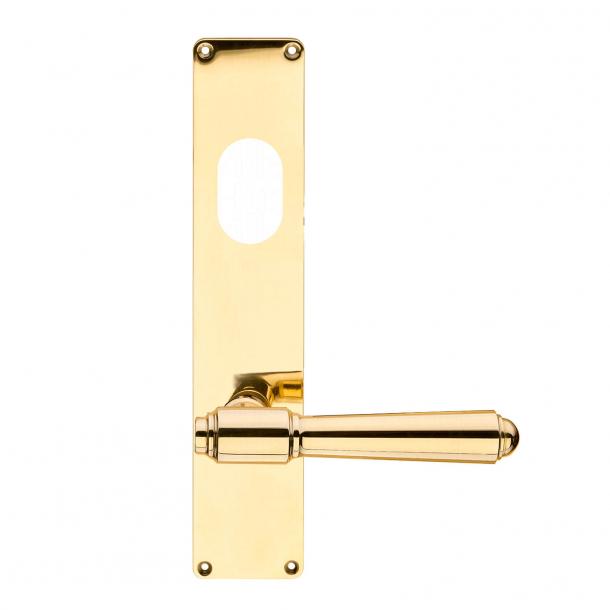 Dörrhandtag utomhus - långskylt - mässing - ASSA cylinderhål - BRIGGS 132 mm