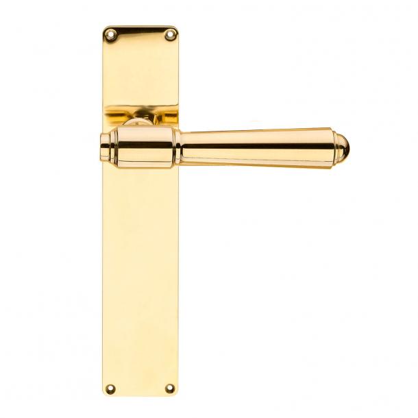 Door handle exterior, Back plate brass - BRIGGS 132 mm