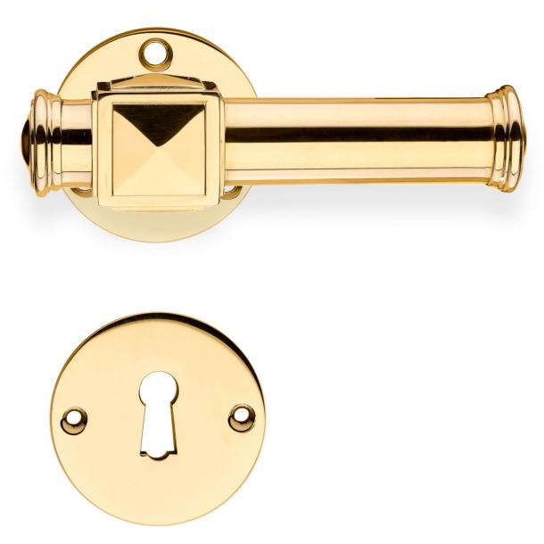 Door handles indoor - Brass - Smooth rosettes - Model ULLMAN 102 mm - Wood screws