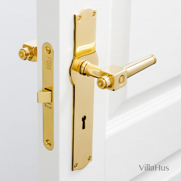 Door handle on Amalienborg backplate with keyhole - Brass without lacquer - Model BROWN