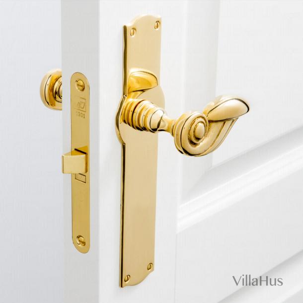 Door handle on backplate- Interior - Brass - Model PERROT 88 mm