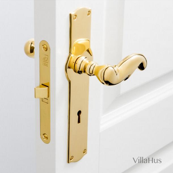 Door handle interior - Wide, Back plate - Keyhole - Brass - Weingarden 97 mm