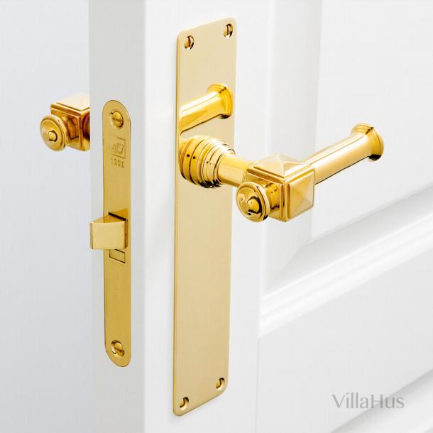 Indoor door handle on long plate - ULLMAN 112 mm - Brass