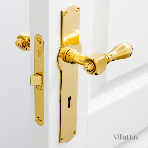 Door handle interior, Back plate with keyhole - Blank brass - Medici